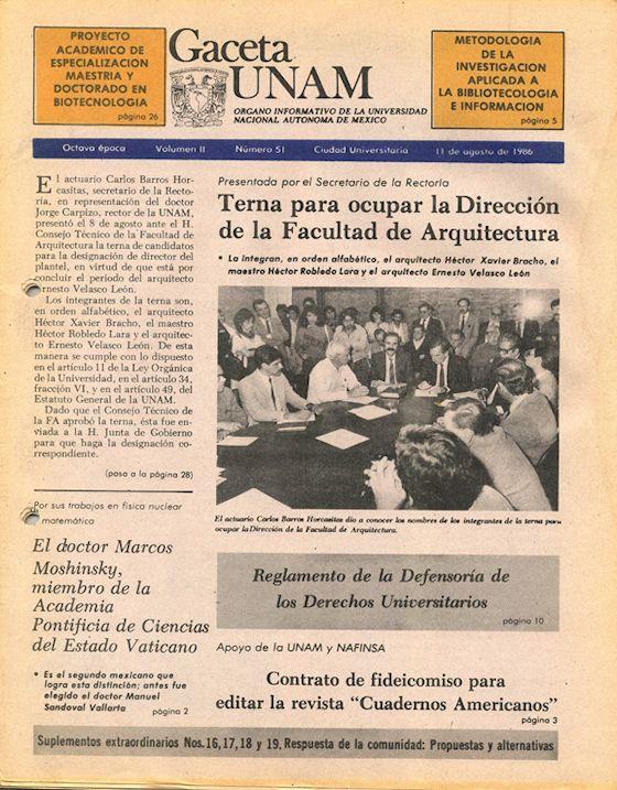 Gaceta UNAM 1986